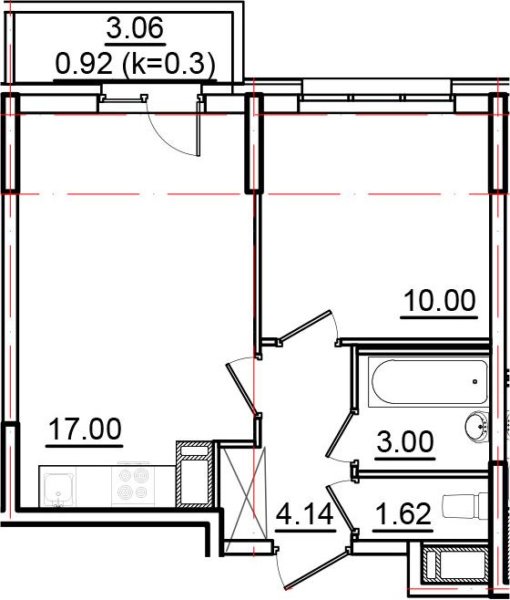 2Е-к.кв, 36.68 м², 16 этаж