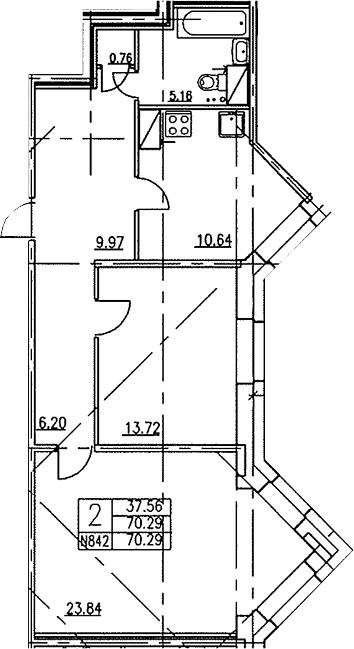 2-к.кв, 70.8 м²
