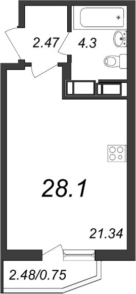 Студия, 29.85 м²