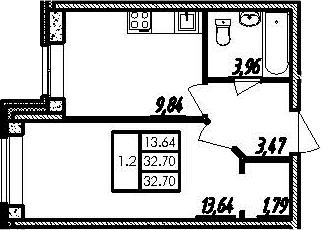 1-комнатная, 32.7 м²– 2