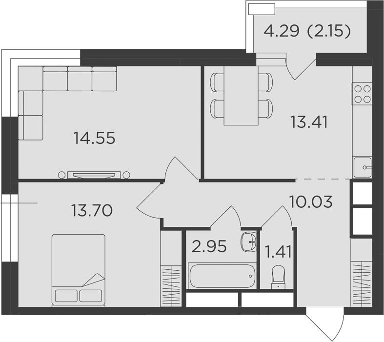 2-к.кв, 58.2 м², 25 этаж