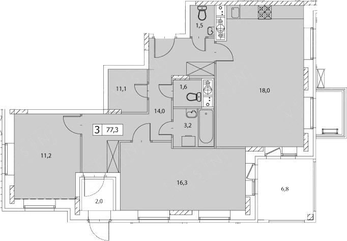 3-к.кв (евро), 86.1 м²