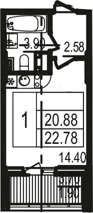 Студия, 22.73 м², 12 этаж