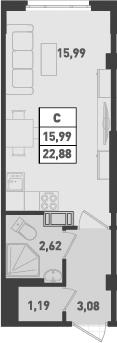 Студия, 22.88 м²