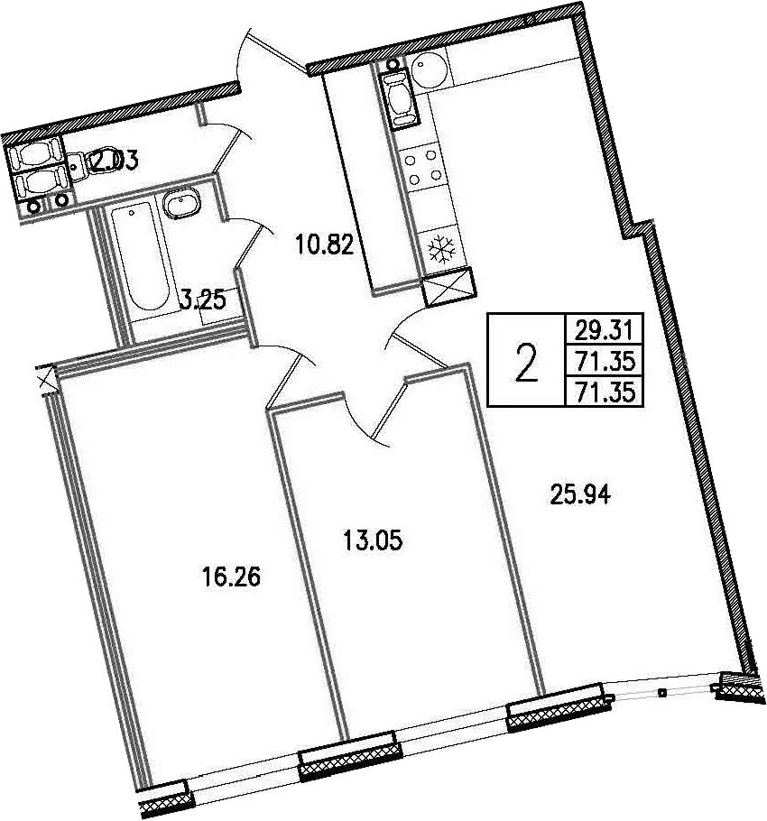 3-к.кв (евро), 71.35 м²