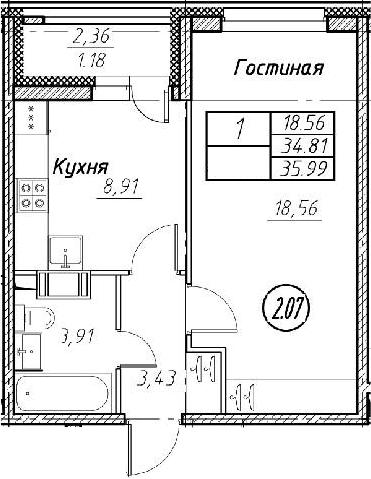 2Е-к.кв, 35.99 м², от 2 этажа
