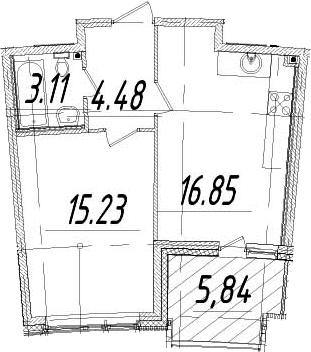 1-к.кв, 42.59 м², 7 этаж
