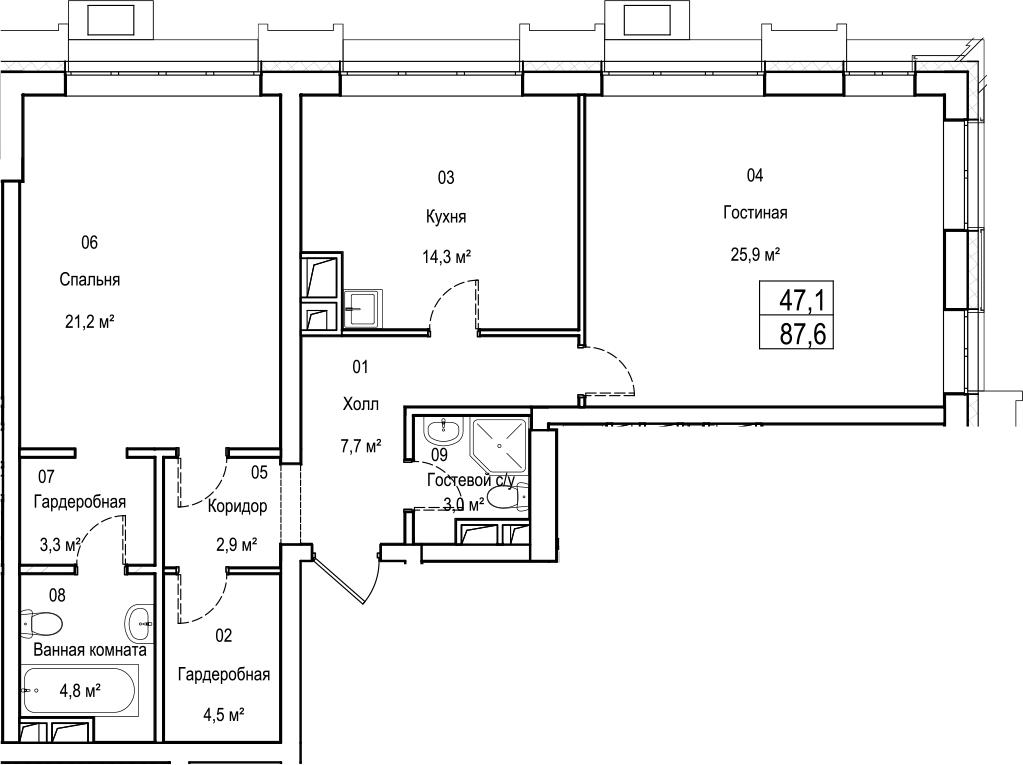 2-к.кв, 87.6 м²