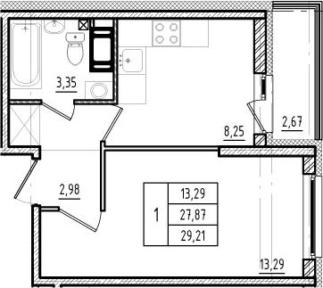 1-комнатная, 27.87 м²– 2