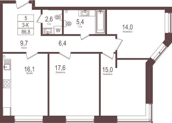 3-к.кв, 86.8 м²