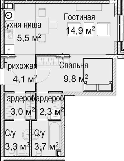 2-к.кв (евро), 46.6 м²