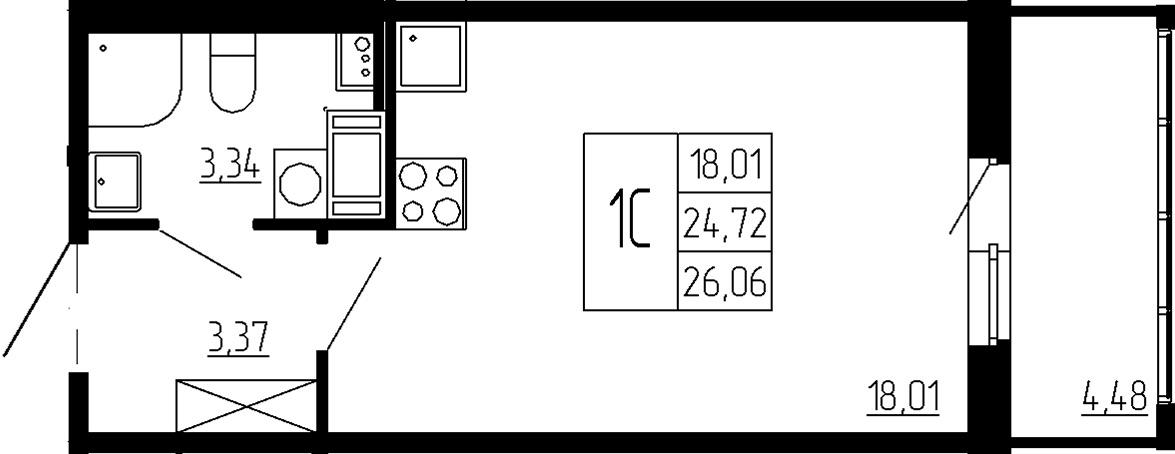 Студия, 24.72 м²