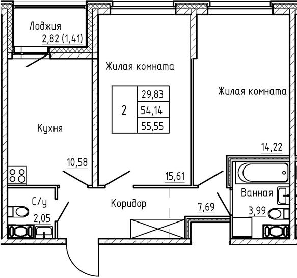 2-к.кв, 55.55 м², 2 этаж