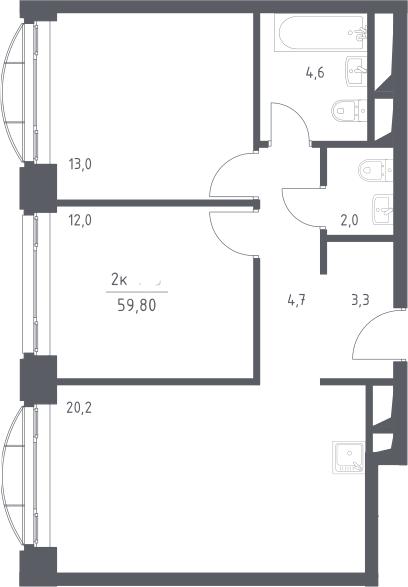 3Е-к.кв, 59.8 м², 13 этаж
