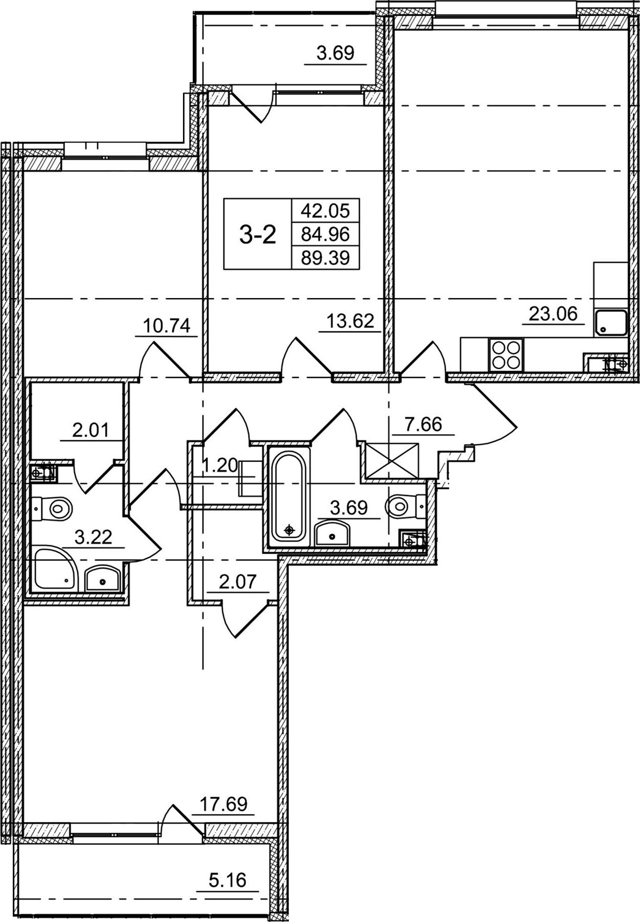 4Е-к.кв, 84.96 м²