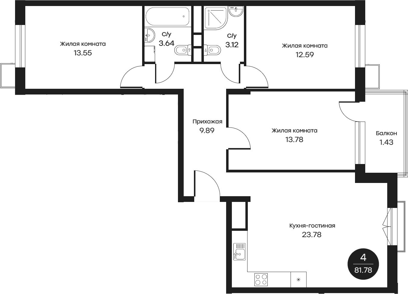 4Е-комнатная, 81.78 м²– 2