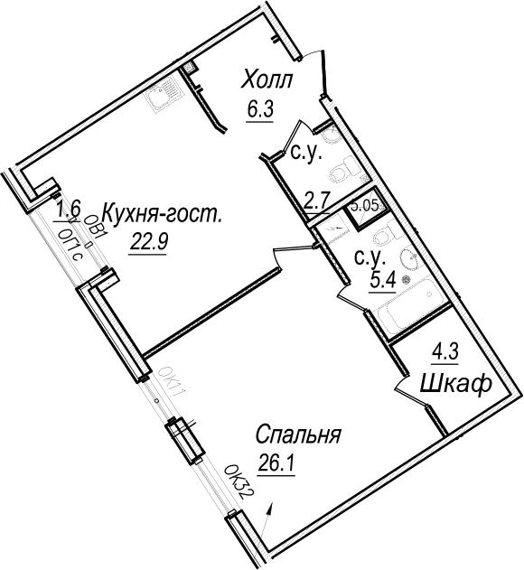 2Е-комнатная, 68.5 м²– 2