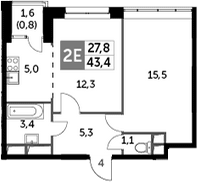 2Е-к.кв, 43.4 м²