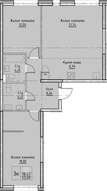 3Е-комнатная, 78.47 м²– 2