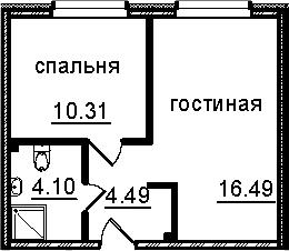 2Е-к.кв, 35.39 м², от 4 этажа