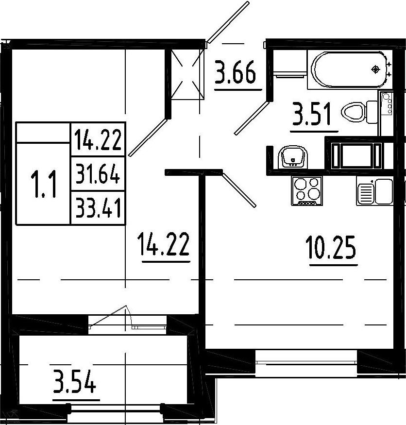 1-комнатная, 31.64 м²– 2