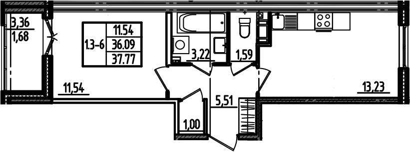 1-к.кв, 37.77 м²