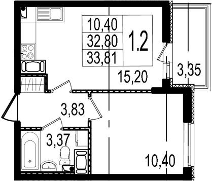 2Е-к.кв, 32.8 м², 3 этаж