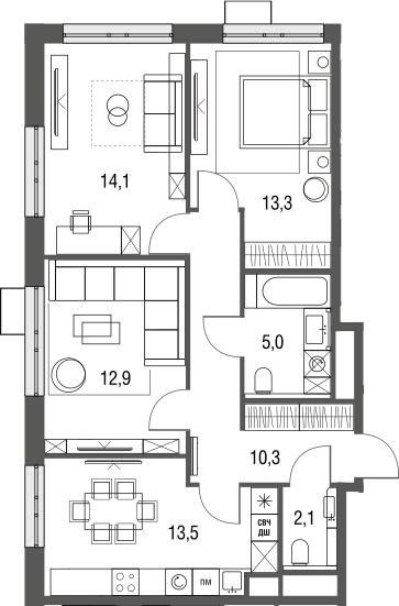 3-к.кв, 71.2 м², от 3 этажа
