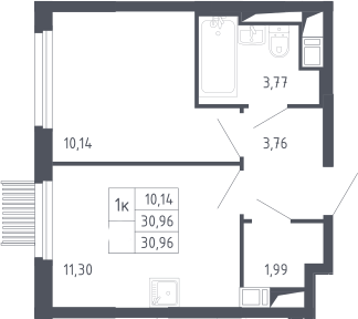 1-к.кв, 30.96 м², 13 этаж