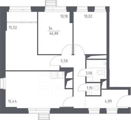 4-к.кв (евро), 66.88 м²