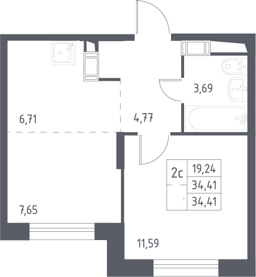 2Е-комнатная, 34.41 м²– 2