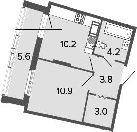 1-к.кв, 32.1 м²