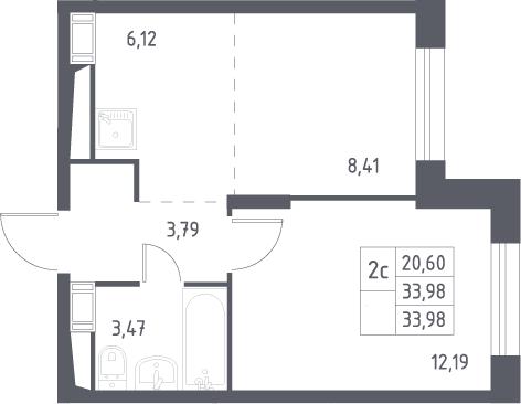 2Е-к.кв, 33.98 м², 13 этаж