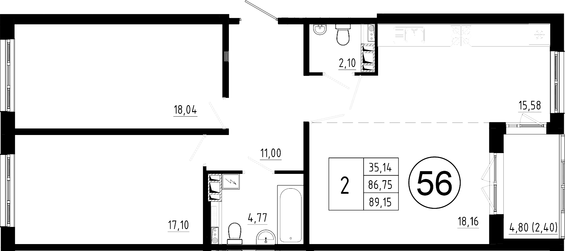 3-к.кв (евро), 91.55 м²