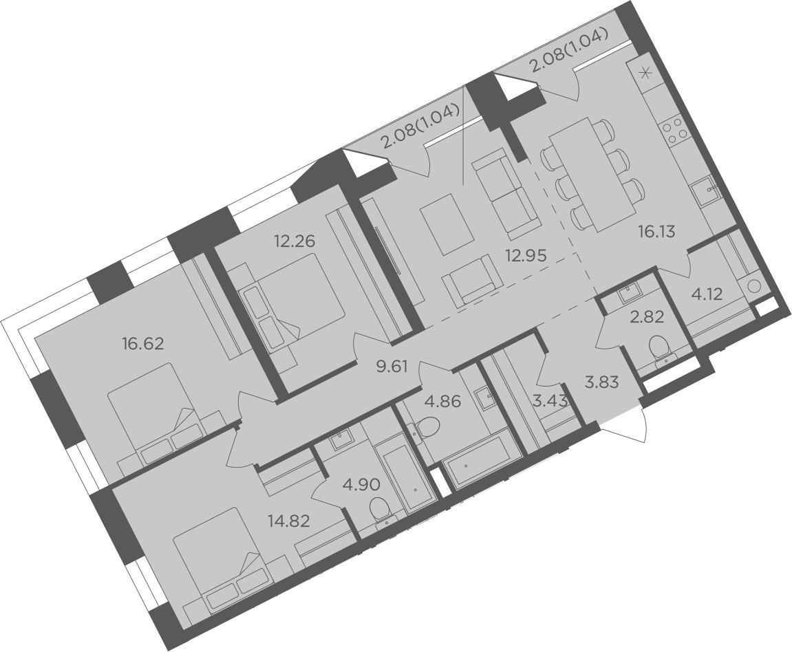 4-к.кв, 108.43 м², 11 этаж