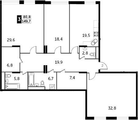 4Е-к.кв, 149.8 м²