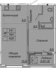 2Е-к.кв, 40.9 м², от 3 этажа