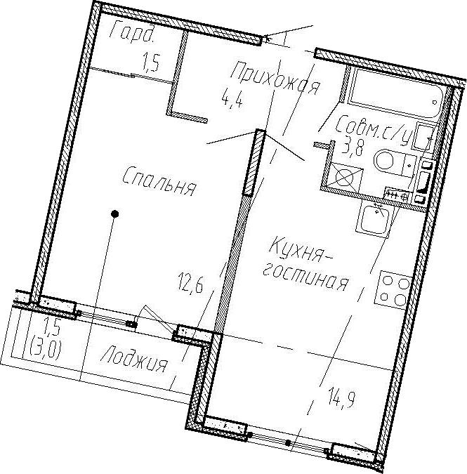 1-комнатная квартира, 37.2 м², 3 этаж – Планировка
