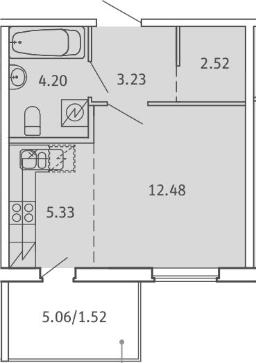 Студия, 29.28 м², от 2 этажа