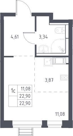 Студия, 22.9 м²– 2