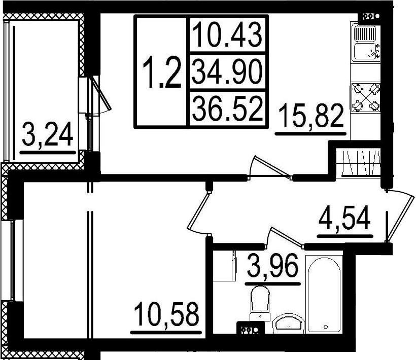 2-к.кв (евро), 38.14 м²