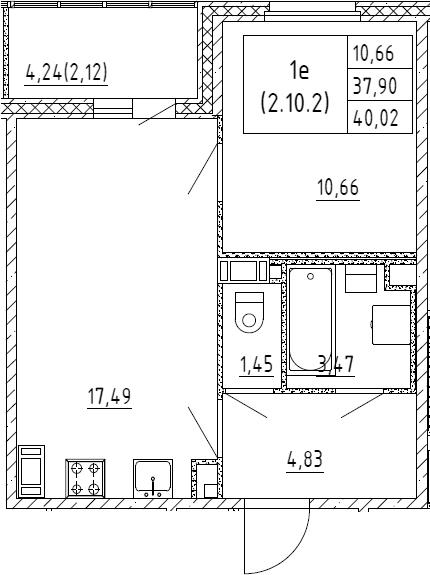 2Е-к.кв, 40.02 м², 10 этаж