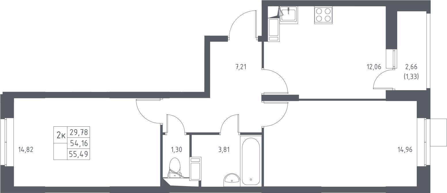 2-к.кв, 55.49 м²