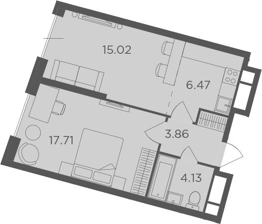 2Е-к.кв, 46.37 м²