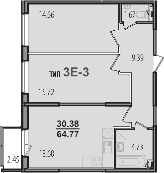 3-к.кв (евро), 67.22 м²