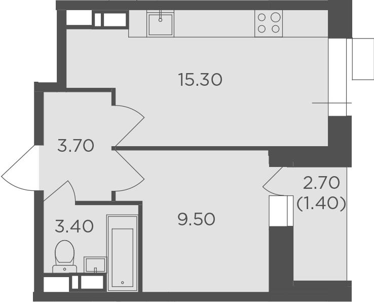 1-к.кв, 33.3 м², 4 этаж