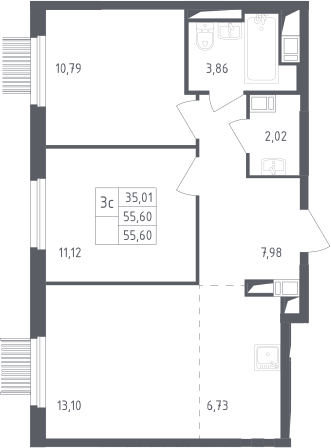 3Е-к.кв, 55.6 м², от 11 этажа