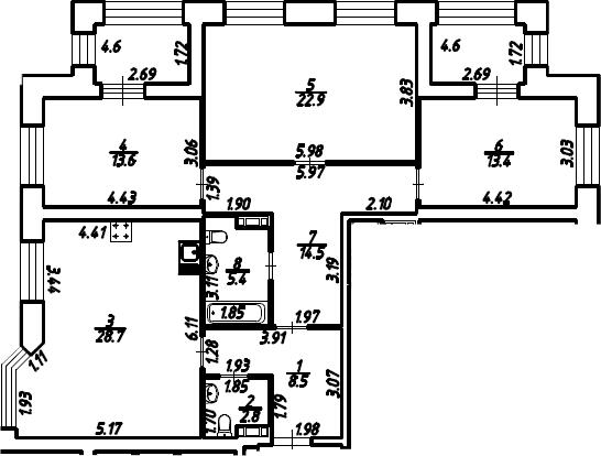 3-к.кв, 114.9 м²