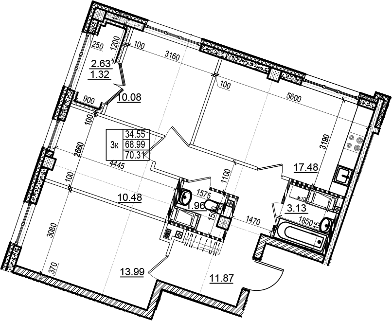 4Е-к.кв, 70.31 м²