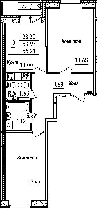 2-к.кв, 55.35 м²